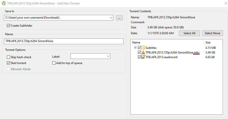 Information about the files while adding the torrent to the utorrent client